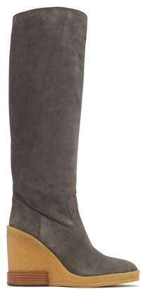 Tod's Knee High Suede Wedge Boots - Womens - Grey