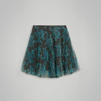 Burberry Childrens Pleated Lace Skirt
