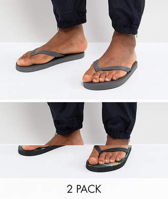 Asos Flip Flops 2 Pack In Camo And Gray SAVE
