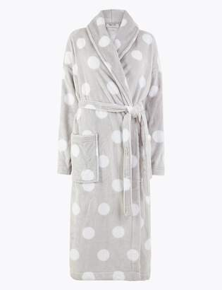 Marks and Spencer Fleece Polka Dot Dressing Gown with Belt