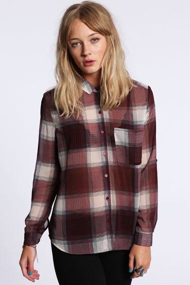 Sparkle & Fade Plaid Chiffon Shirt