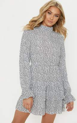 PrettyLittleThing White Ditsy Leaf Print High Neck Tiered Shift Dress