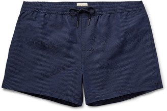 Club Monaco Arlen Slim-Fit Short-Length Striped Cotton-Blend Swim Shorts $100 thestylecure.com