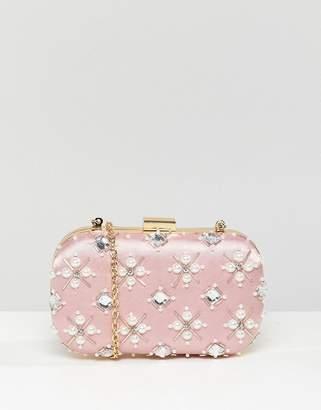 True Decadence Blush Embellished Pearl Box Clutch Bag