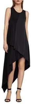 BCBGMAXAZRIA Asymmetrical Mixed Media Dress