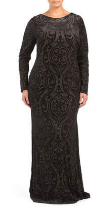 Plus Long Sleeve Embossed Floral Gown