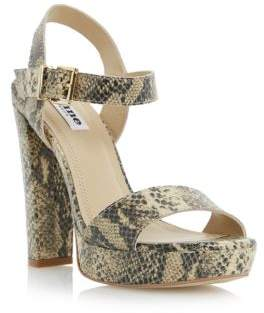 Dune London Mariella Natural Reptile Platform Sandals