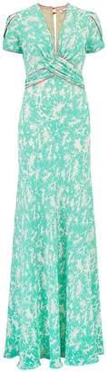 Libelula Long Millie Dress Green Flower Splat Print