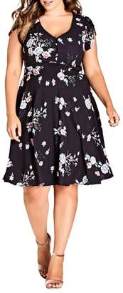 City Chic Lovely Blooms Fit & Flare Dress