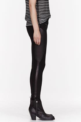 Rag and Bone RAG & BONE Blac leather-paneled Ilford Riding pants