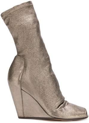 Rick Owens open toe wedge booties