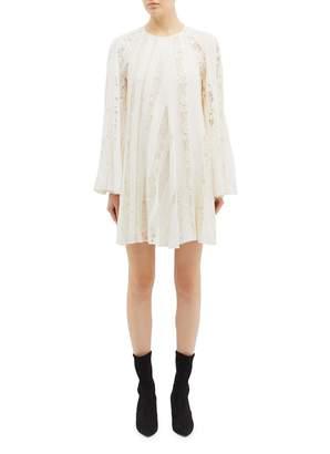 Chloé Bell sleeve asymmetric lace panel silk trapeze dress