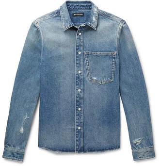 Balenciaga Slim-fit Embroidered Distressed Denim Shirt - Blue