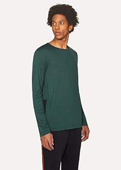 Paul Smith Men's Dark Green Long-Sleeve T-Shirt With Contrast Panel