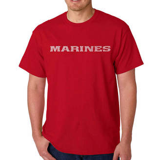 LOS ANGELES POP ART Los Angeles Pop Art Lyrics to the Marine Hymn Word Art T-Shirt- Men's Big and Tall