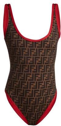 Fendi Ff Logo Print Swimsuit - Womens - Red Multi
