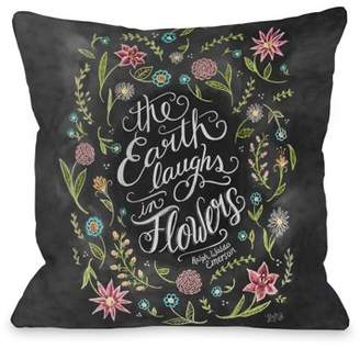 One Bella Casa Earth Laughs in Flowers - Gray White 16x16 Pillow by Lily & Val