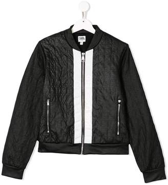 Karl Lagerfeld TEEN quilted effect bomber jacket