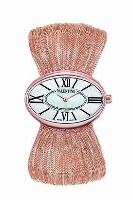 Valentino Women's V43MBQ5002S080 Seduction Rose Gold-Plated Oval Plisse Bracelet Watch