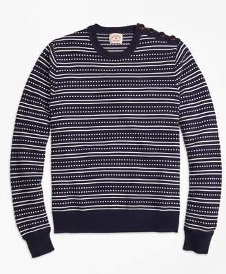 Brooks Brothers Stripe Jacquard Crewneck Sweater