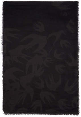 McQ Black and Grey Swallow Cut Up Scarf