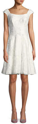 Zac Posen V-Neck Cap-Sleeve Gathered Silk-Blend Midi Dress