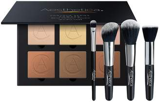 Aesthetica Cosmetics Contour and Highlighting Powder Foundation Palette with Contour Brush Set