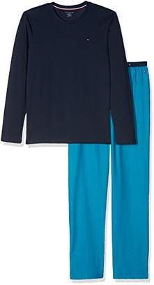 Tommy Hilfiger Boy's Woven Set LS Pyjama (Navy Blazer/Vivid Blue 096), (Size: 6-7)