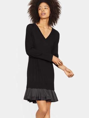 Halston Sweater Dress with Ruffle Hem