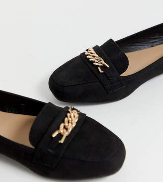 New Look Wide Fit wide fit faux suede chain loafer in black