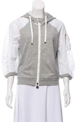 Moncler Mesh-Accented Quarter Sleeve Jacket