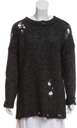 R 13 Distressed Long Sleeve Sweater