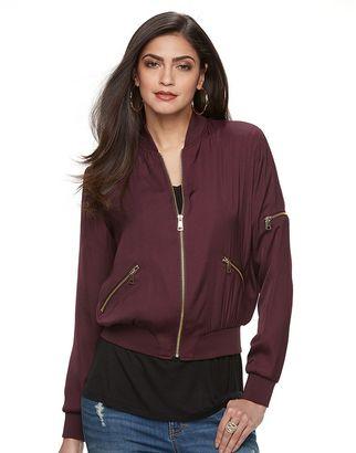 Women's Jennifer Lopez Luxe Essentials Bomber Jacket $74 thestylecure.com