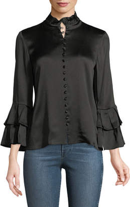 Alexis Gai Button-Front Sateen Top