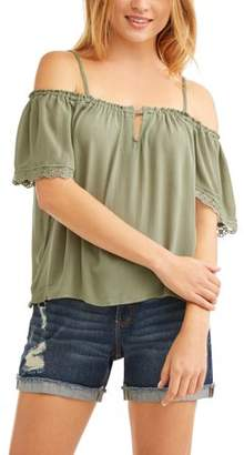 No Comment Juniors' Off the Shoulder Flutter Sleeve Blouse w/ Crochet Trim
