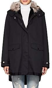 Barneys New York Women's Fur-Lined Twill Jacket-Navy