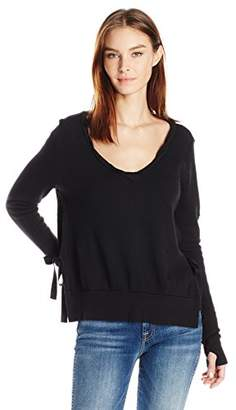 Pam & Gela Women's V-Neck Side Slit Sweatshirt