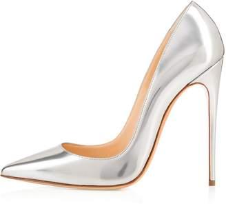 Eldof Womens Pointed Toe High Heel Slip On Stiletto Pumps Wedding Party Basic Shoes US9