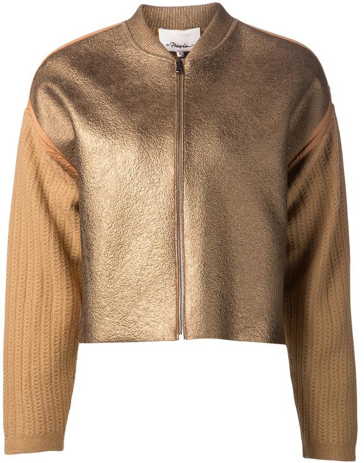 3.1 Phillip Lim3.1 Phillip Lim knitted sleeve bomber jacket