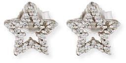 Roberto Coin Diamond Star Stud Earrings in 18K White Gold