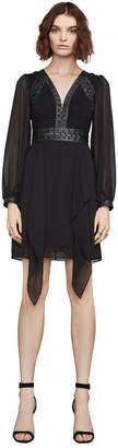 BCBGMAXAZRIA Andela Faux-Leather-Trim Dress