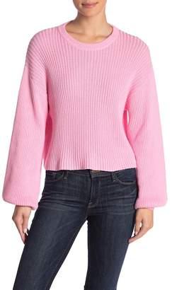 Abound Blouson Sleeve Rib Knit Crew Neck Pullover
