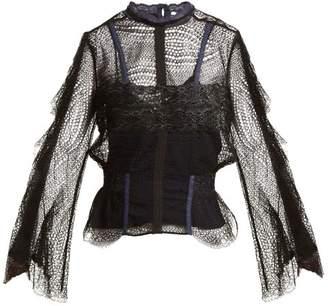Jonathan Simkhai - Bell Sleeved Layered Lace Blouse - Womens - Black