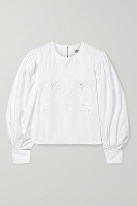 Etoile Isabel Marant Wona Embroidered Cotton-poplin Blouse - White