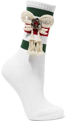 Gucci Little William Embellished Ribbed Cotton-blend Socks - White