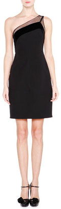 Giorgio Armani One-Shoulder Velvet-Trimmed Dress, Black $3,995 thestylecure.com