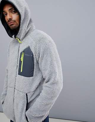 O'Neill Activewear Kinetic Borg Fleece Jacket Hooded in Gray