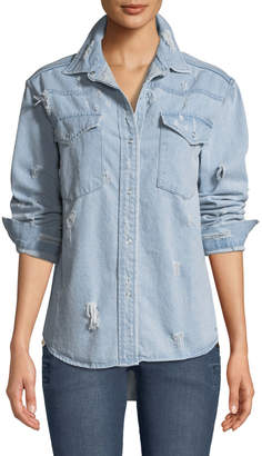 STYLEKEEPERS Day-Off Oversized Distressed Denim Shirt
