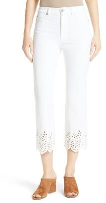Women's La Vie Rebecca Taylor Eyelet Hem Crop Jeans $275 thestylecure.com