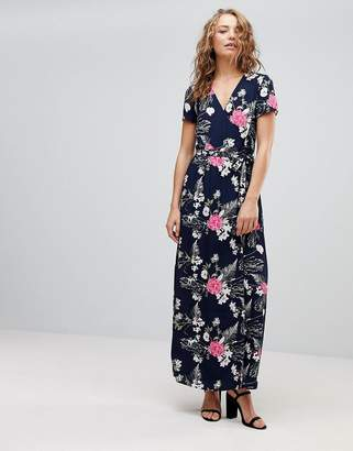 Pieces Emi Floral Print Maxi Wrap Dress